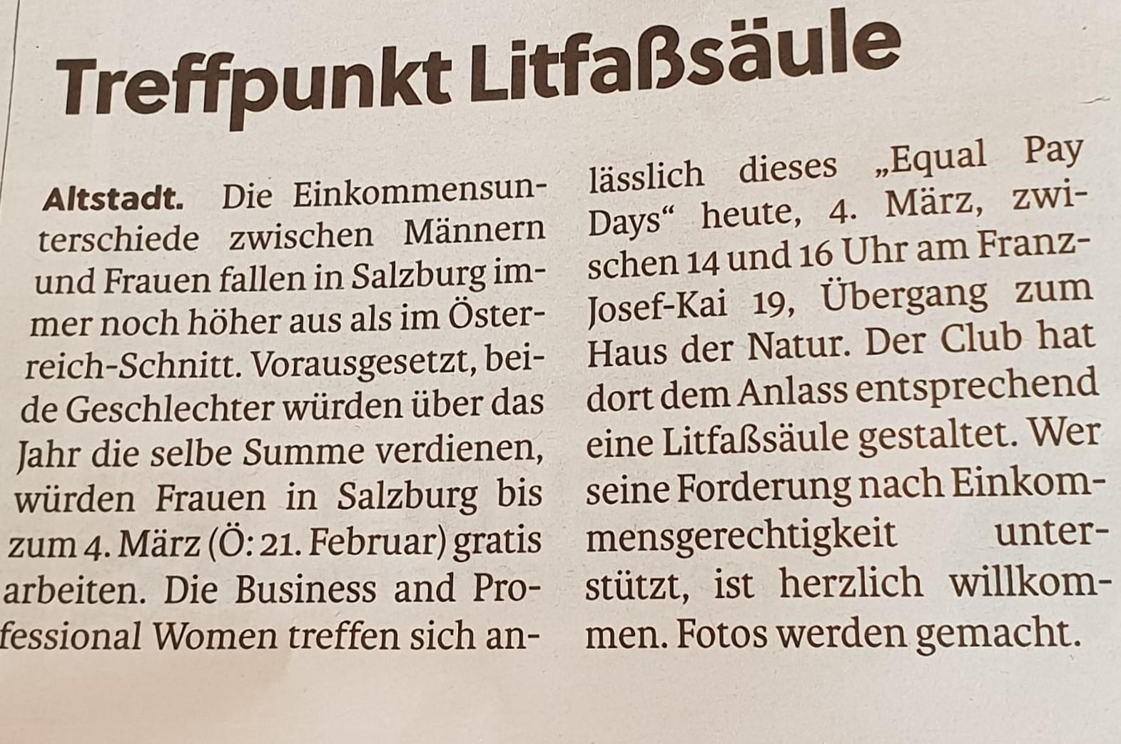 BPW Salzburg in den Salzburger Stadtnachrichten