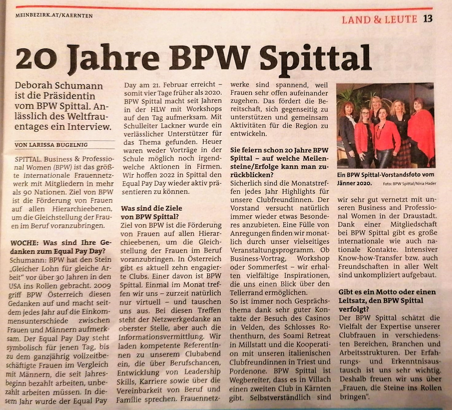 BPW Spittal in Meinbezirk