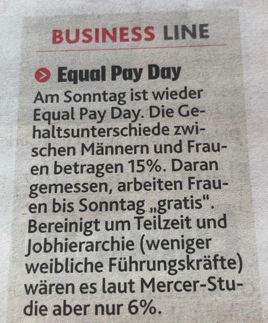 Equal Pay Day in der Kronen Zeitung